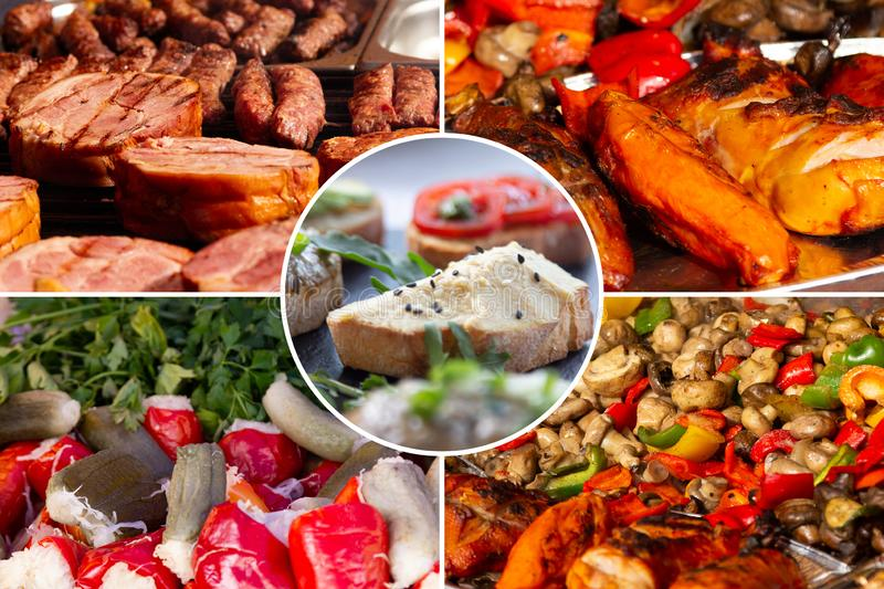 Food collage. Delicious cooked food collage with European cuisine closeup on a dining table stock image