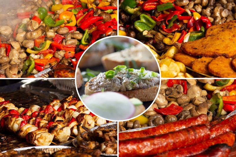 Food collage. Delicious cooked food collage with European cuisine closeup on a dining table stock photo