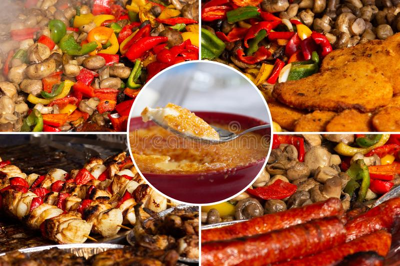 Food collage. Delicious cooked food collage with European cuisine closeup on a dining table royalty free stock images