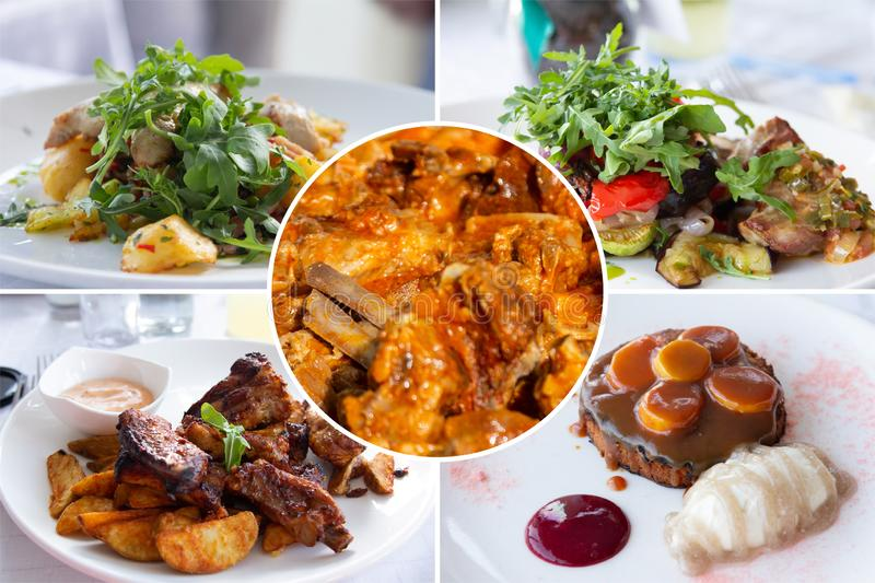 Food collage. Delicious cooked food collage with European cuisine closeup on a dining table royalty free stock photos