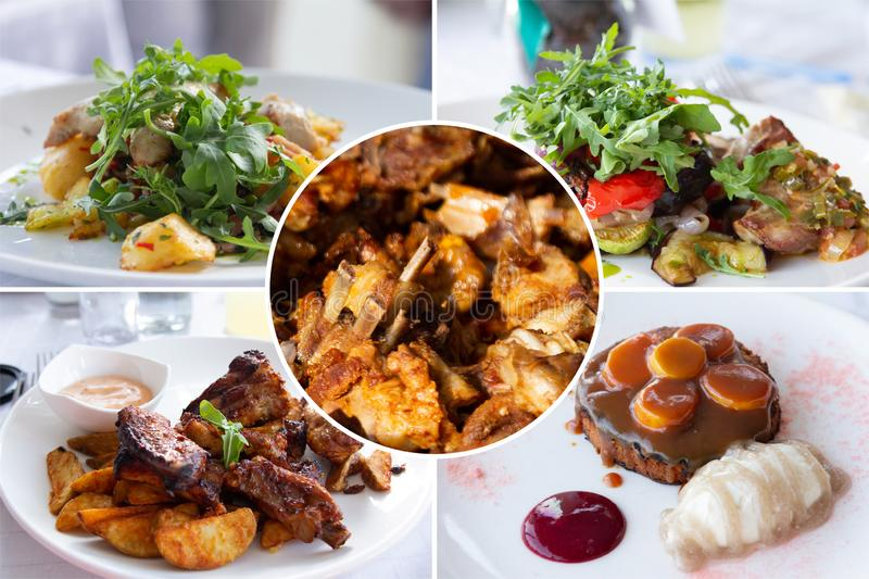 Food collage. Delicious cooked food collage with European cuisine closeup on a dining table stock images