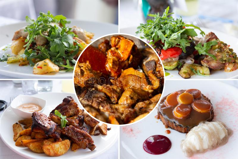 Food collage. Delicious cooked food collage with European cuisine closeup on a dining table stock photography