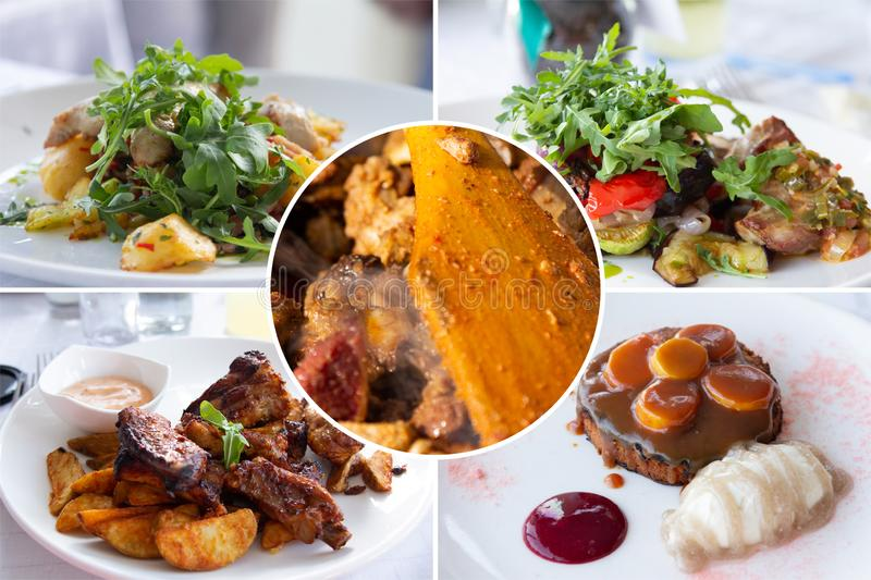 Food collage. Delicious cooked food collage with European cuisine closeup on a dining table royalty free stock photo