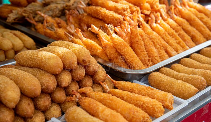 Delicious cooked healthy fresh fish croquettes royalty free stock images