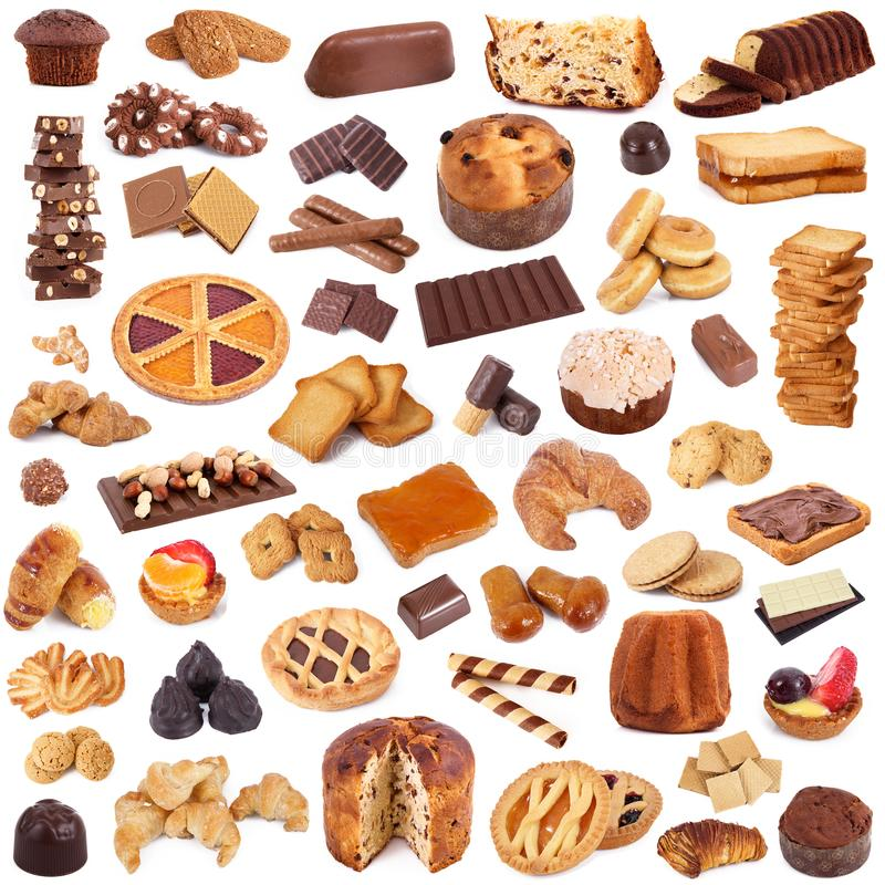 Cookies collage on white background stock photography