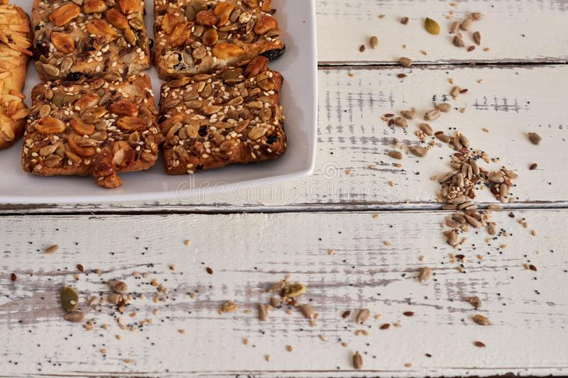 Delicious cookies with nuts and seeds royalty free stock photos