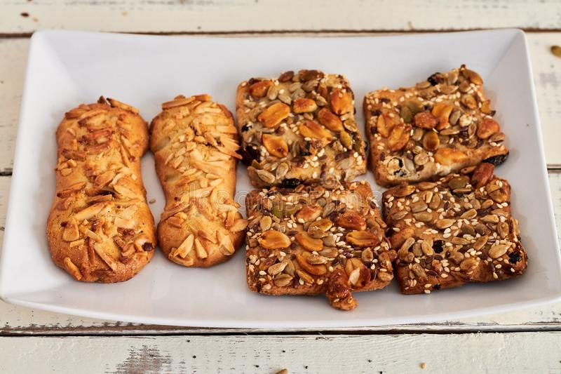 Delicious cookies with nuts and seeds royalty free stock images