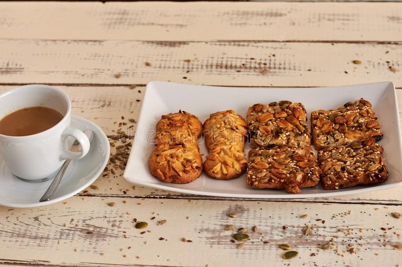 Delicious cookies with nuts and seeds stock photography