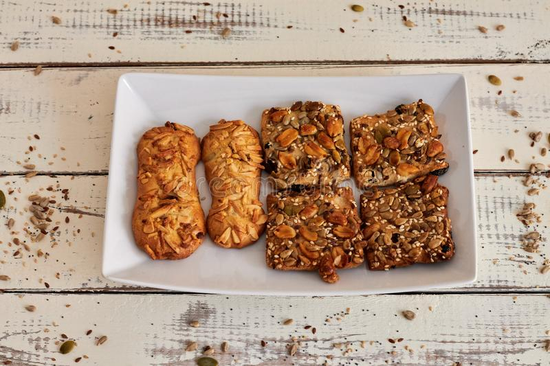 Delicious cookies with nuts and seeds royalty free stock image