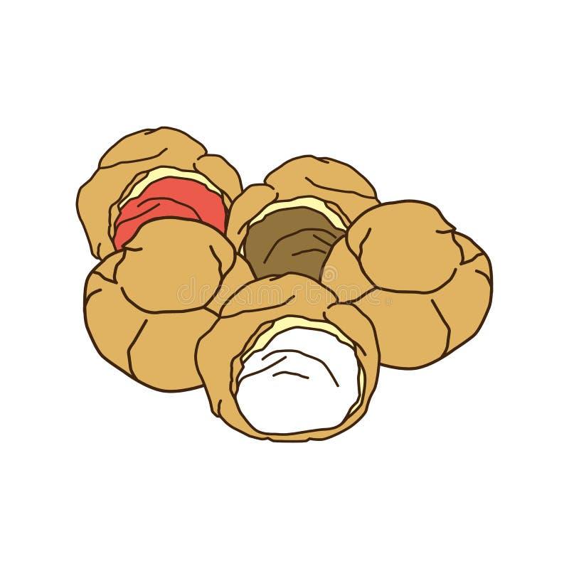 Delicious cream puff vector illustration