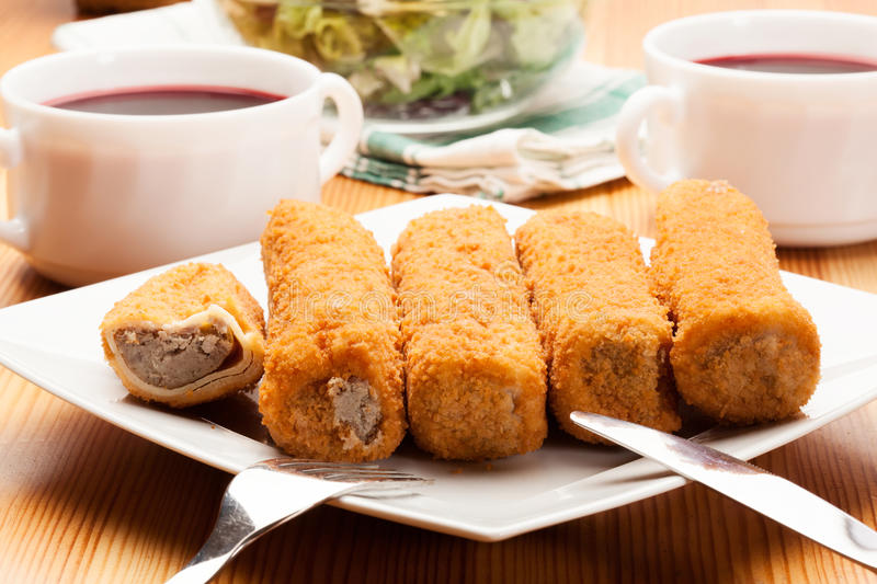Delicious croquettes. On a plate royalty free stock photos
