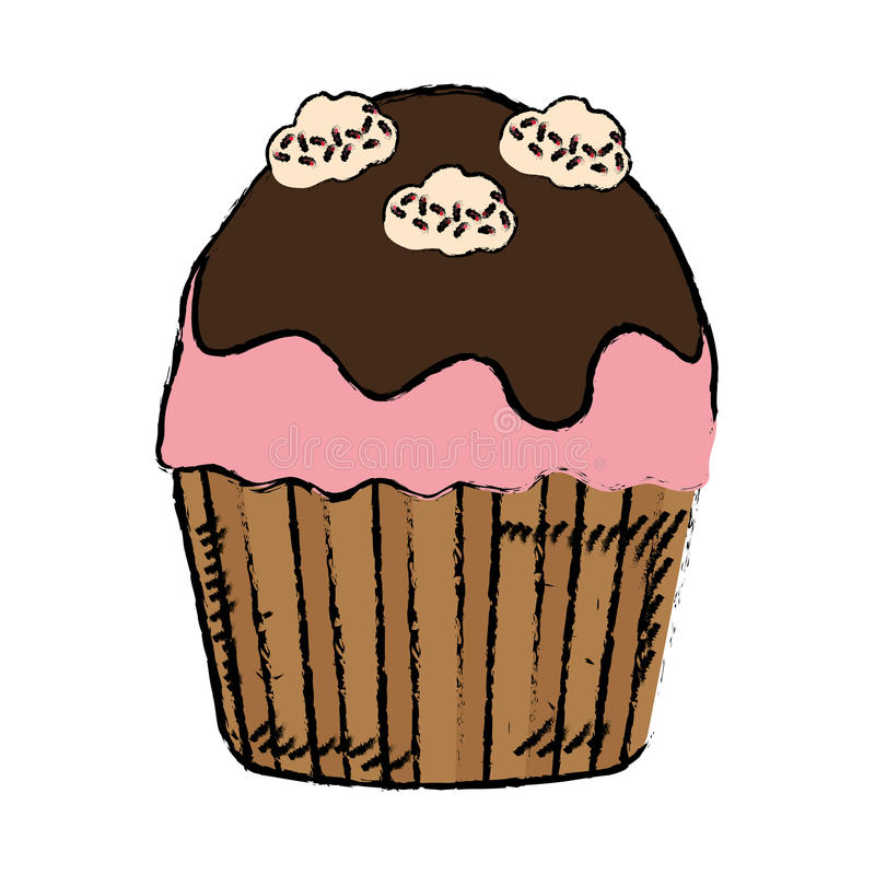 Delicious cupcake dessert. Icon vector illustration graphic design vector illustration