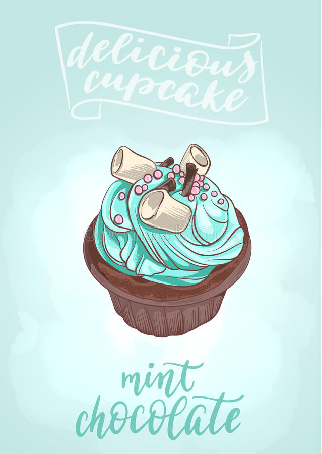 Delicious cupcake Mint Chocolate. Decorative vector illustration and handwritten brush lettering for your design. Tasty dessert with cream, chocolate chips and vector illustration