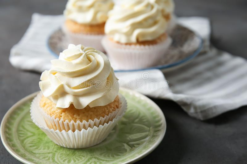 Delicious cupcake on plate royalty free stock photography