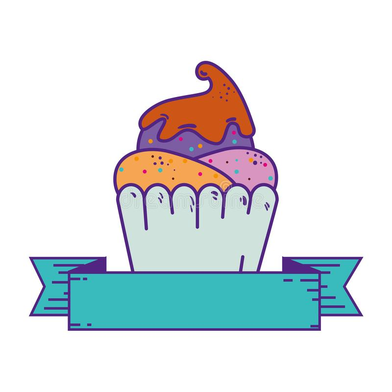 Delicious cupcake sweet with ribbon stock illustration
