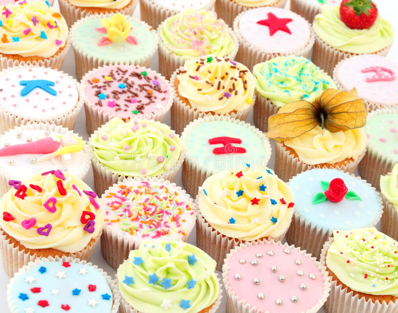 Delicious cupcakes. Some home made delicious cupcakes filling the frame stock photography