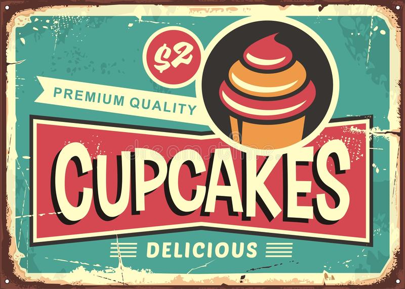 Delicious cupcakes retro sign for candy shop. Pastry store vintage ad with cute typography and cupcake graphic. Vector illustration for sweets and candies royalty free illustration