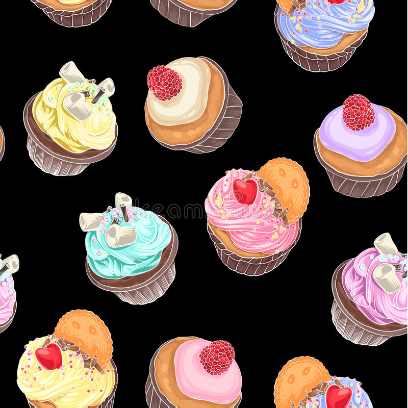 Delicious cupcakes. Seamless pattern with hand drawing. Different tasty desserts with berries, cream and sweet decor on black background royalty free illustration