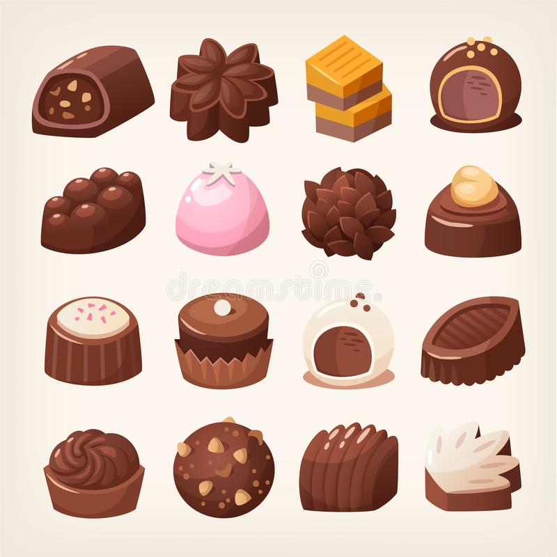 Delicious dark and white chocolate candies. In various shapes and flavors. Isolated vector images stock illustration