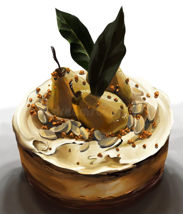 Amaretto cream cake with poached pears and laurel leaves royalty free stock image