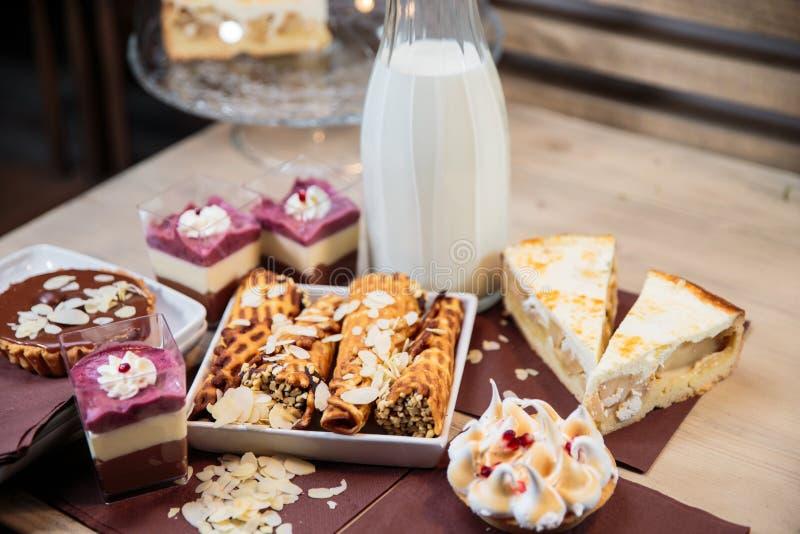 Delicious dessert selection stock photos