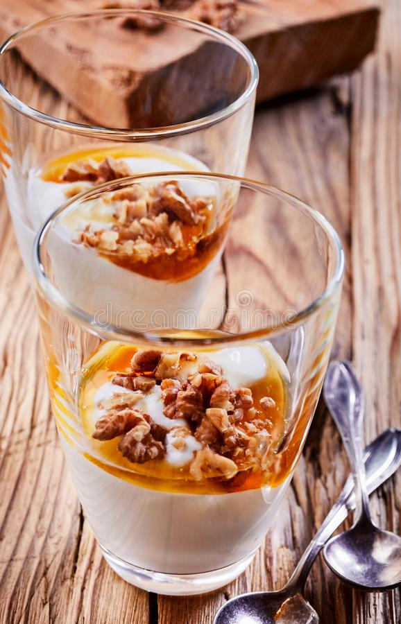 Delicious dessert with yogurt, honey and walnuts royalty free stock images