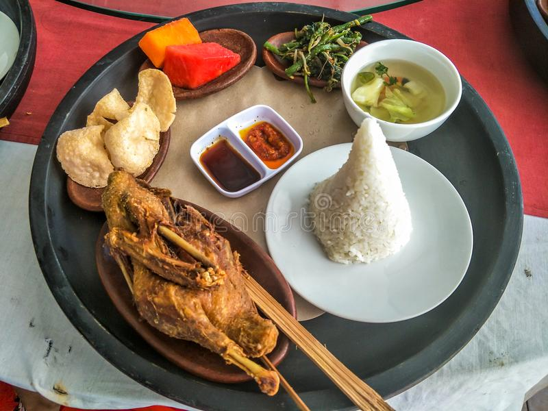 A delicious and dirty duck m. Dirty duck meal, a delicious food tasted in Bali stock image