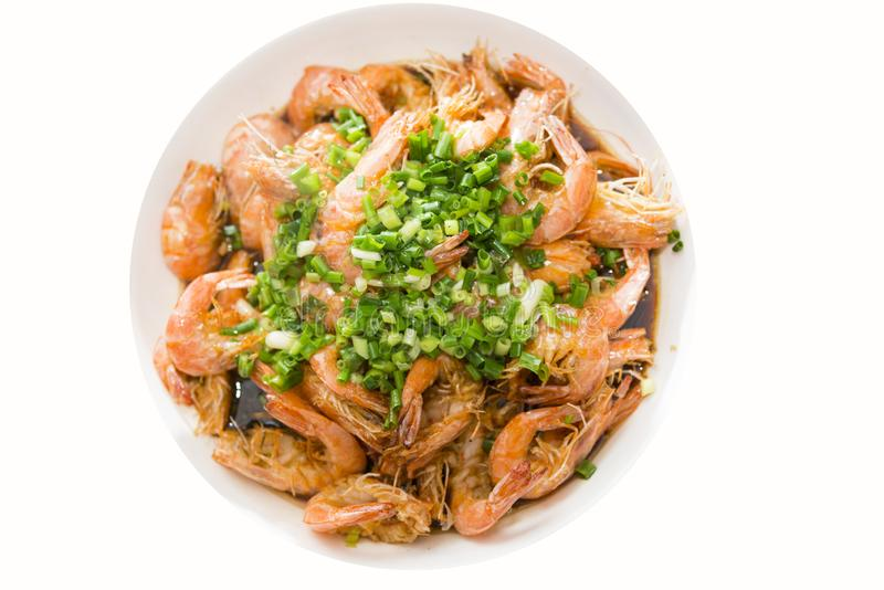 A delicious dish of braised prawn. Chinese Food stock photography