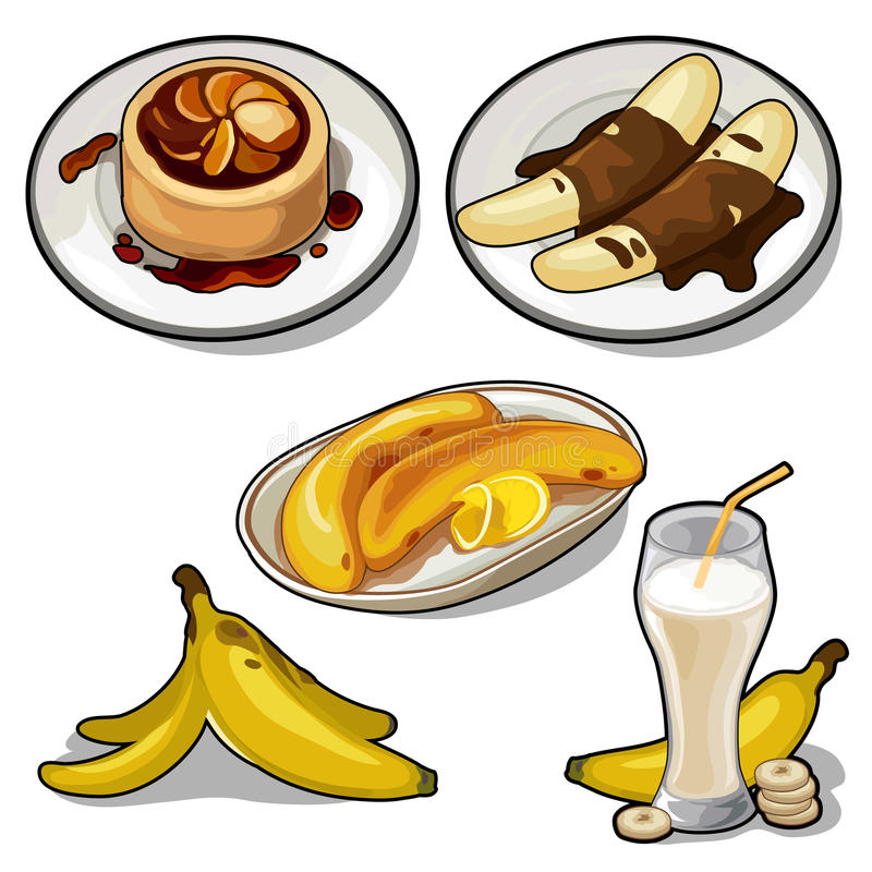 Delicious dishes made from banana stock illustration
