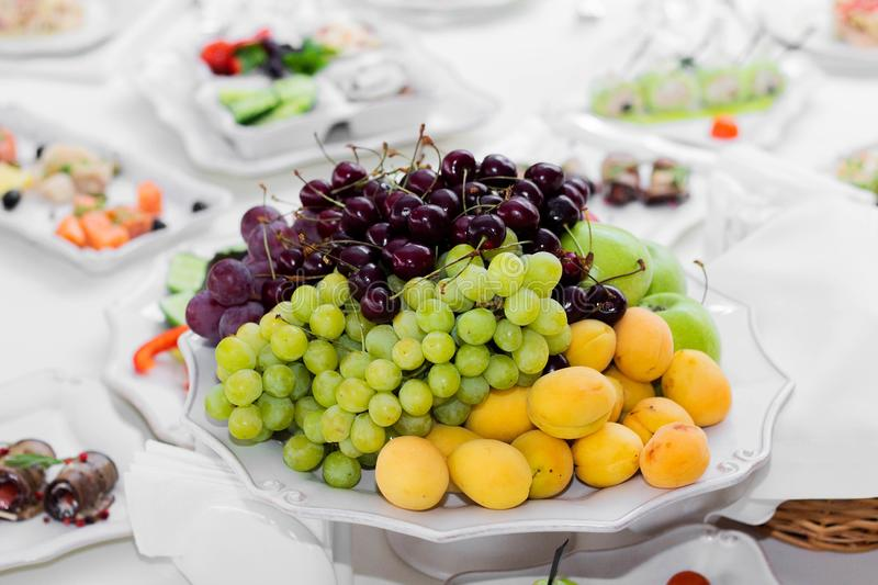Delicious dishes on the table in the restaurant. Wedding, Banquet royalty free stock image
