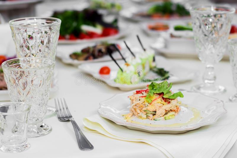 Delicious dishes on the table in the restaurant. Wedding, Banquet stock photography