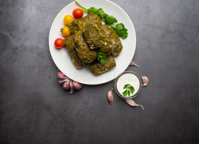Delicious dolma sarma stuffed grape leaves rice, white yogurt sauce. Lebanese dolma sarma on plate. Lebanon turkish greek middle royalty free stock image