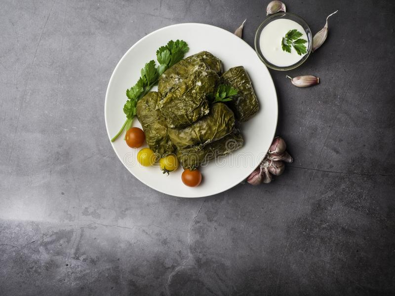 Delicious dolma sarma stuffed grape leaves rice, white yogurt sauce. Lebanese dolma sarma on plate. Lebanon turkish greek middle stock photos