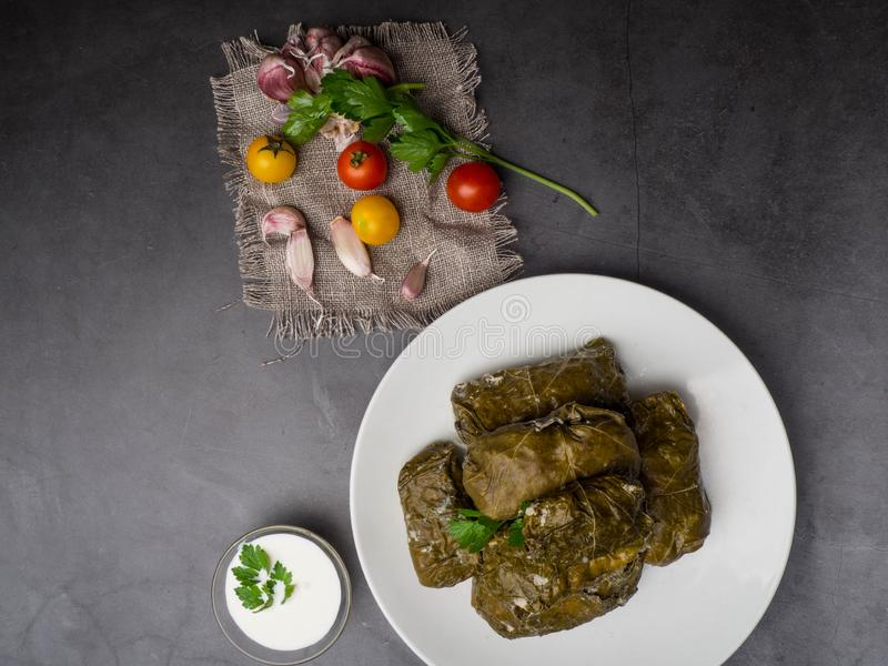 Delicious dolma sarma stuffed grape leaves rice, white yogurt sauce. Lebanese dolma sarma on plate. Lebanon turkish greek middle eastern cuisine. Dinner food stock photos