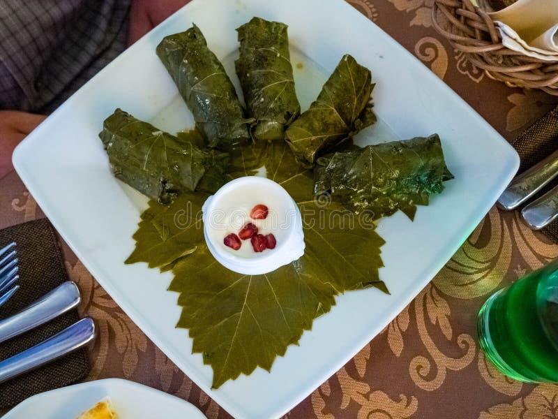 Delicious dolma sarma stuffed grape leaves rice, white yogurt sauce. Lebanese dolma sarma on plate. Lebanon turkish greek middle stock photography
