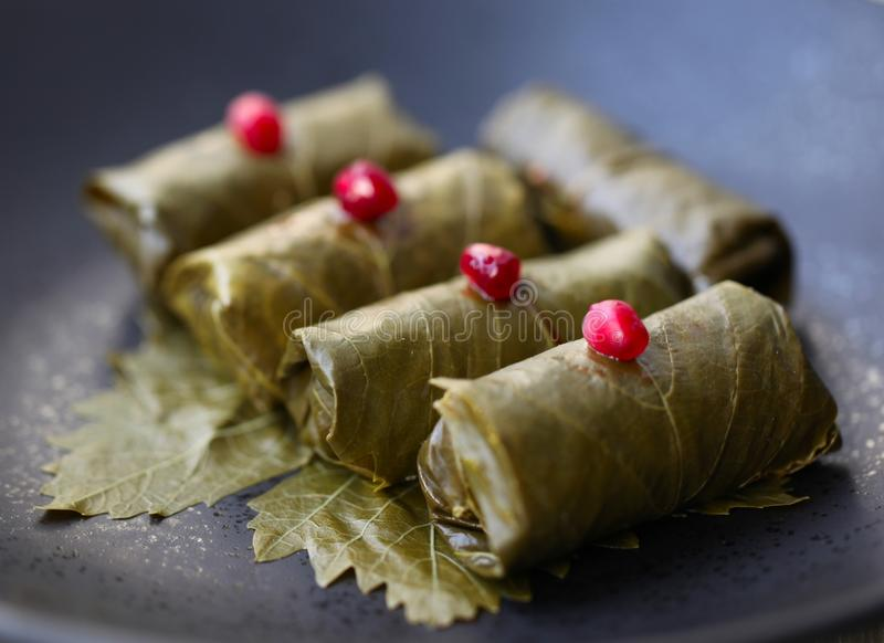 Delicious Dolmades Stuffed Grape Leaves royalty free stock image