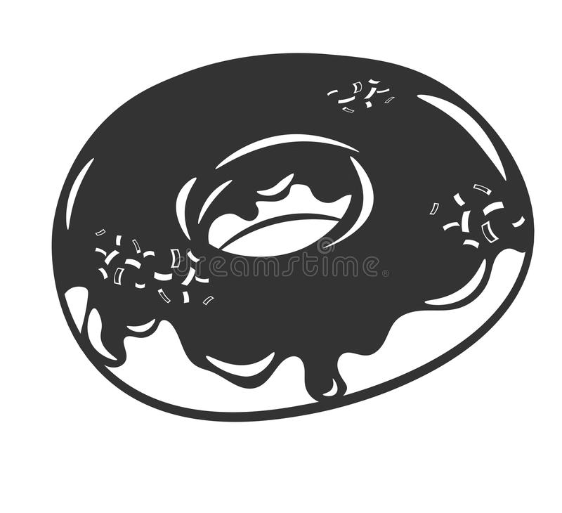 Delicious donut dessert in black and white colors, isolated. Vector Illustration vector illustration