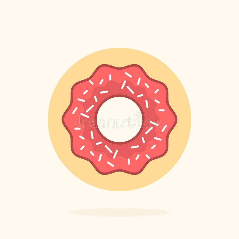 Delicious donut vector flat illustration stock image