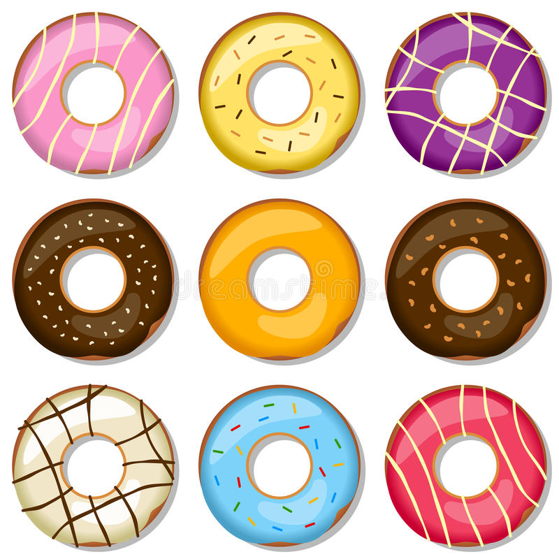 Delicious Donuts Collection. Collection of nine delicious donuts, isolated on white background. Eps file available vector illustration