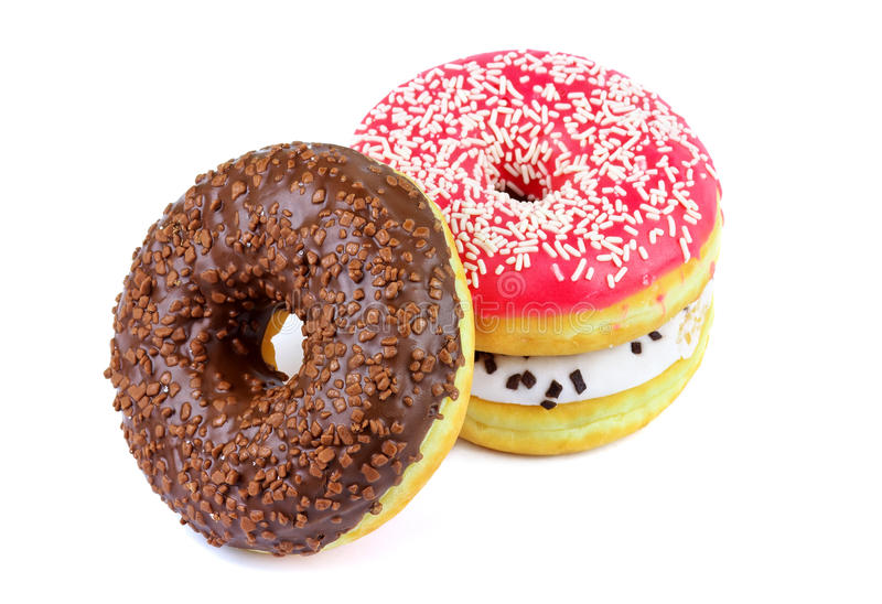 Delicious donuts. Isolated on a white background stock photography
