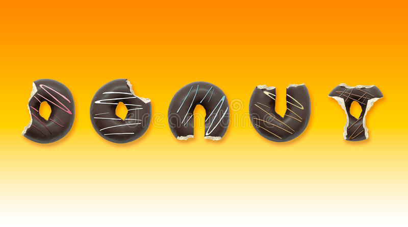 Delicious donuts with shape of letters on yellow background. Advertising concept. Delicious donuts with shape of letters on yellow background. Advertising stock illustration