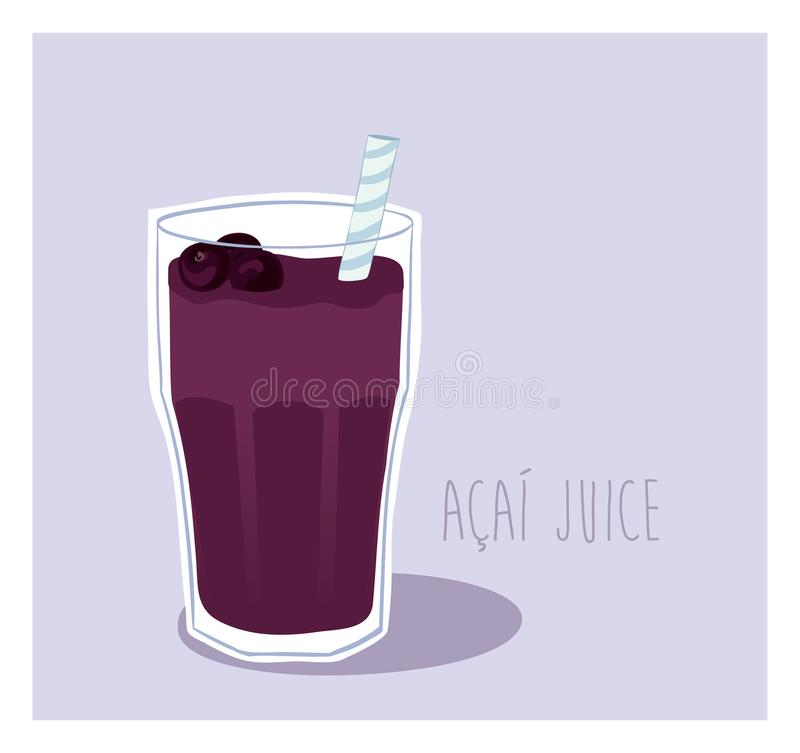 Delicious Energy drink Acai summer vector illustration