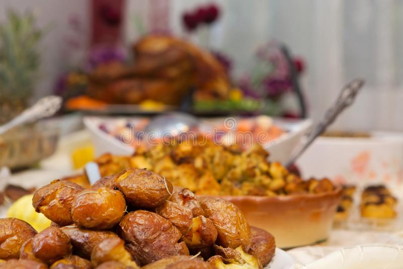 Delicious Extravagant Thanksgiving Dinner royalty free stock photos