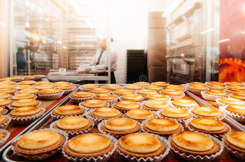 Delicious Hokkaido baked cheese tart on tray in pastry kitchen royalty free stock image