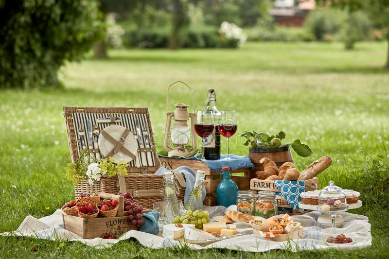 Delicious farm fresh country picnic royalty free stock photo