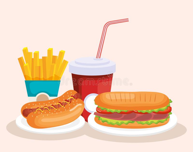 Delicious fast food icons stock illustration