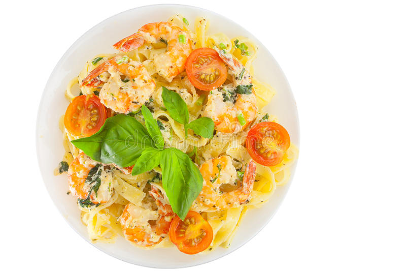 Download Delicious Fettuccine Pasta With Prawns On White Plate Stock Photo - Image: 83713471