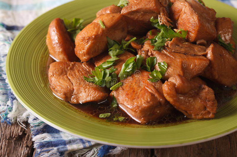 Delicious filipino food adobo chicken with herbs close up hori download delicious filipino food adobo chicken with herbs close up hori stock photo forumfinder Choice Image