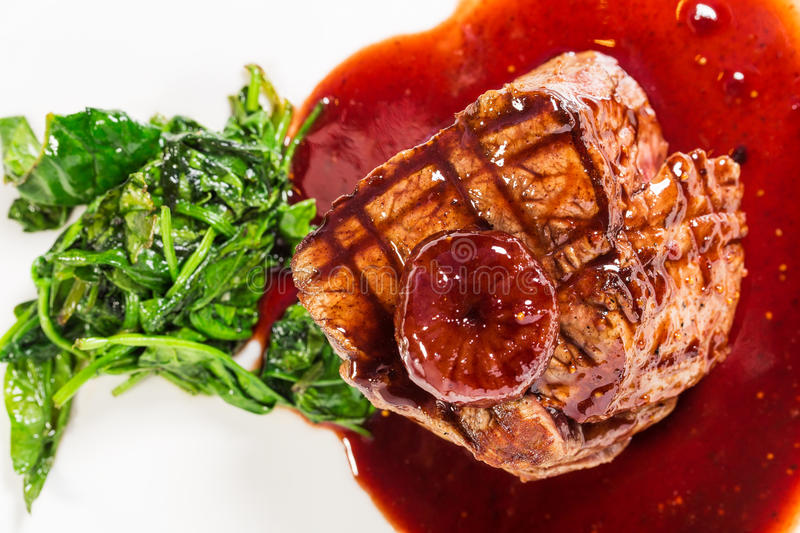 Delicious fillet mignon steak with chard. royalty free stock image