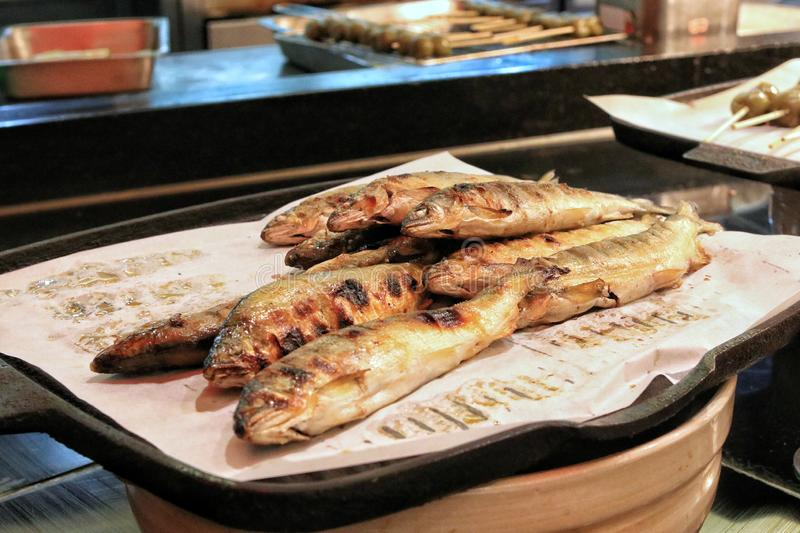 Delicious fish on the buffet. In a Japanese restaurant stock photo